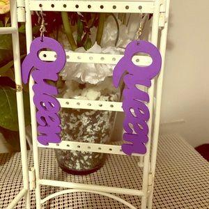 """New purple """"QUEEN"""" Earrings"""